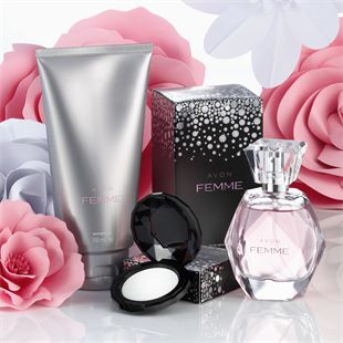 Avon Femme 3 Piece Collection  This set contains:  Avon Femme Eau de Parfum Spray* Pink grapefruit and pear with a delicate heart of gardenia blossom, magnolia and water lily, diffusing to warm amber woods. 50 mL , Shower Gel* 150 mL and Solid Fragrance Compact* 1.85 g