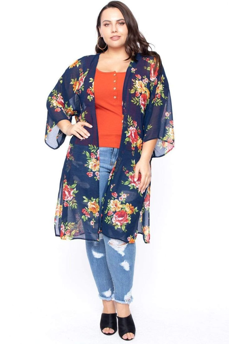 Plus Size Sheer Floral Print Kimono - Navy Boho Plus Size, Plus Size Kimono, Plus Size Fall, Plus Size Casual, Casual Plus Size Outfits, Stylish Summer Outfits, Casual Fall Outfits, Plus Size Womens Clothing, Clothes For Women