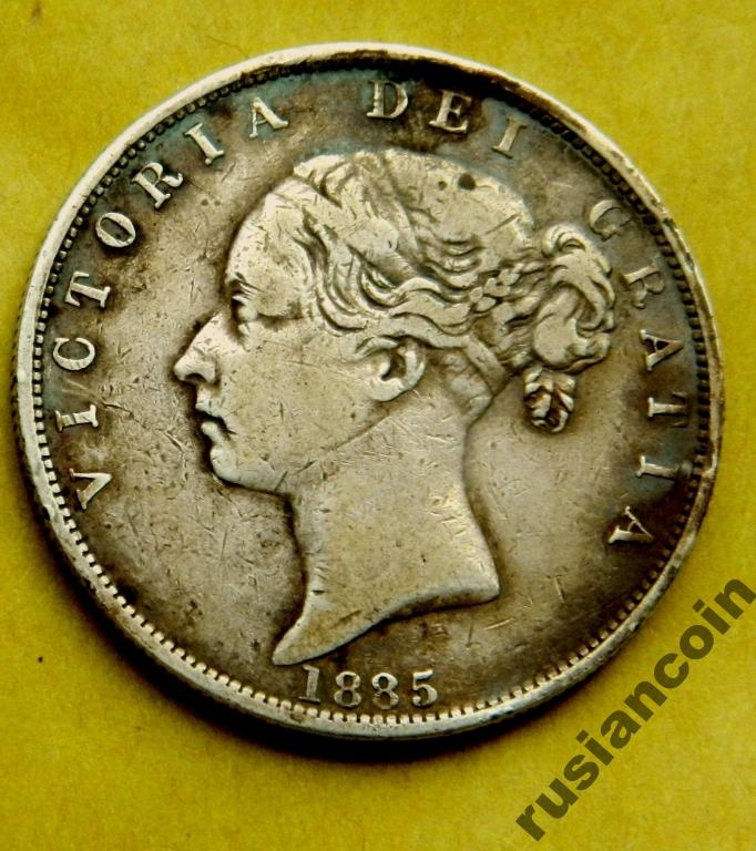 пол кроны  Англия Виктория 1885 молодая СЕРЕБРО half crown Victoria young auction