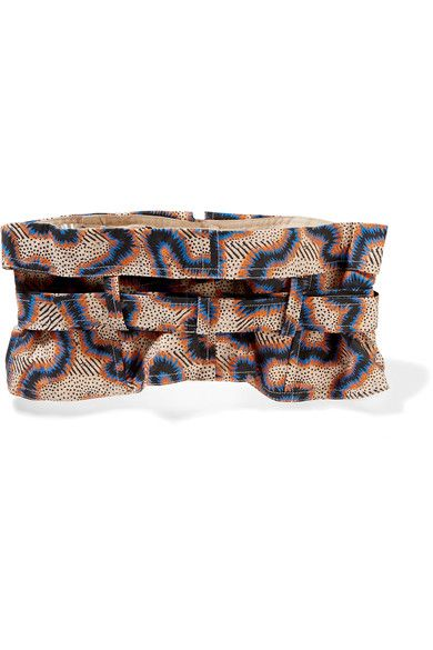 Multicolored cotton and linen-blend Buckle fastening