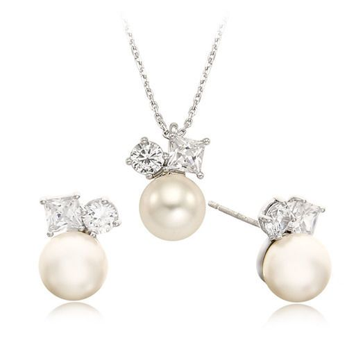 Swarovski Jewelry Softree Pearl Silver Earing Necklace Sets [E_0470,N_0420] #CristalShop