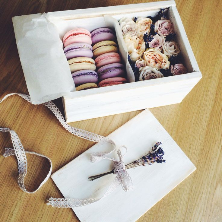 Flower box with macarons. God idea for friendly gift.