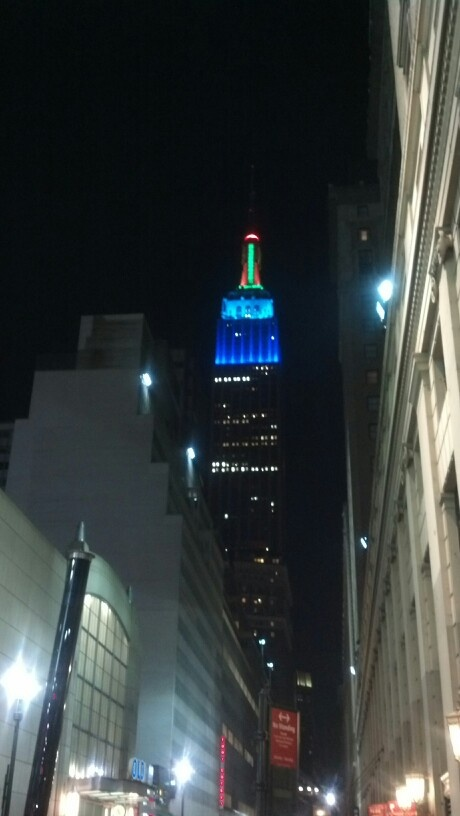 Multi-colored Empire State Building on our last night.