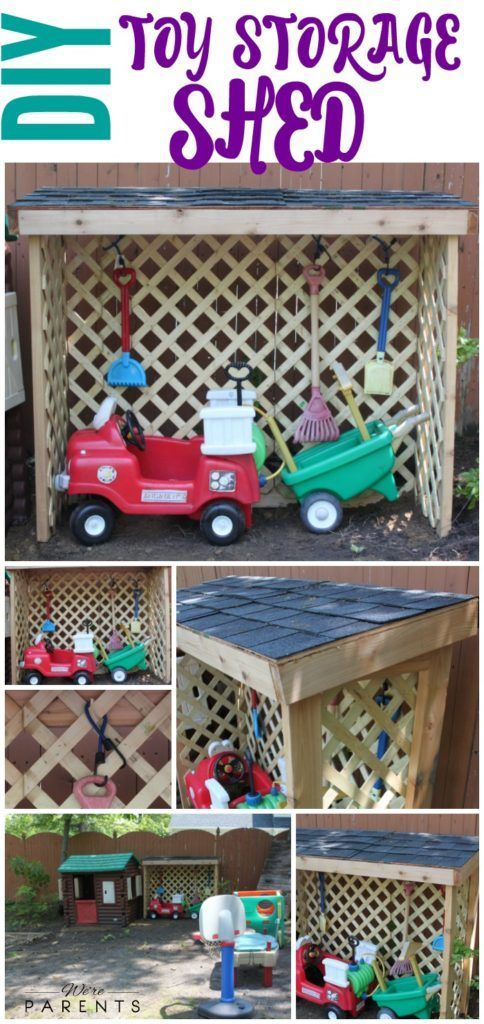DIY Toy Storage Shed - Outdoor Toy Storage - Kids Toy Organization #ad #RoofedItMyself @lowes @gafroofing