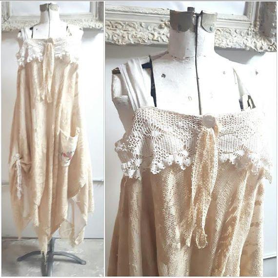 Farmhouse Chic Rustic Dress Boho Crochet Eco