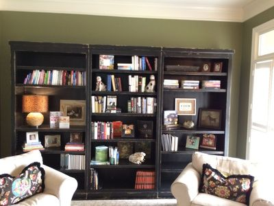 Rustic, Custom distress wood library shelves and bookcase, sawtooth shelf system.