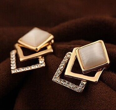 18 KG Überzogene 2016 Neue Stil Koreanische Temperament OL Fashion Rhinestone 18KGP Geometrie Platz Opal Ohrstecker E108