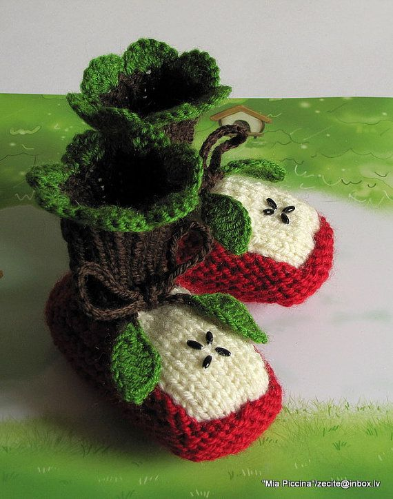 Apple baby booties = insane cuteness.  This may be knitting but crochet gals will adapt the pattern quickly.  Too cute to pass up.