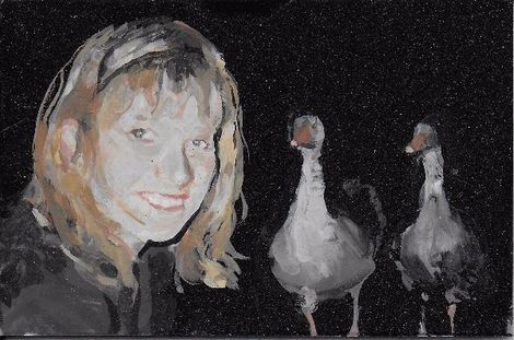 Geraldine Swayne, Self Portrait with Two Gossipy Birds 2017 8by5cm on ArtStack #geraldine-swayne #art
