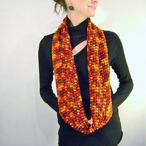 Orange Red Burgundy Flecked Neckwarmer/Knit Red Striped Fall