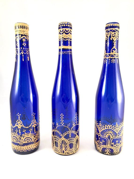 Hand Painted Moroccan Wine Bottle Candle Holders