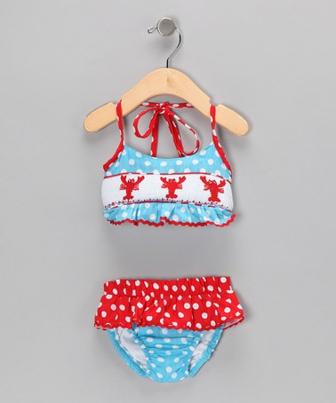 Take a look at this Turquoise & Red Lobster Sunsuit - Infant, Toddler & Girls by Castles & Crowns on #zulily today!
