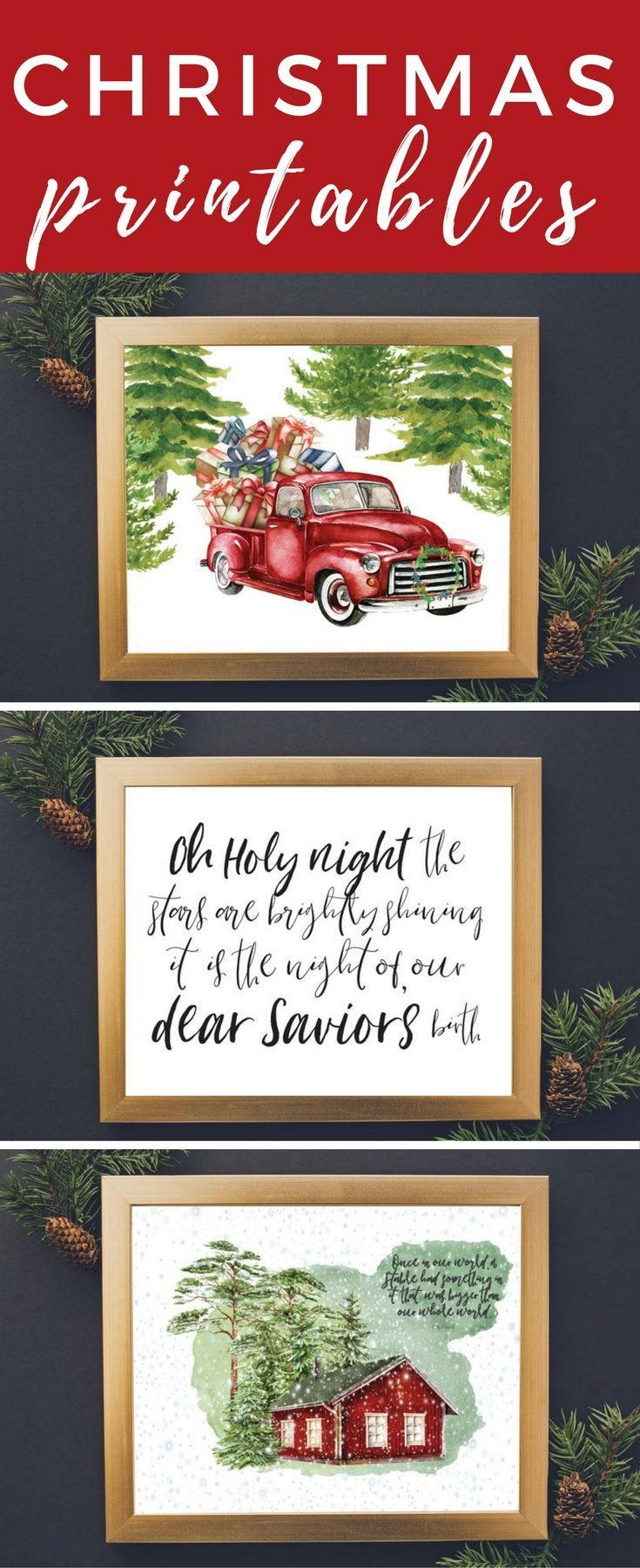 These watercolor Christmas printables are stunning! Such a great way to add affordable Christmas decor to your home.