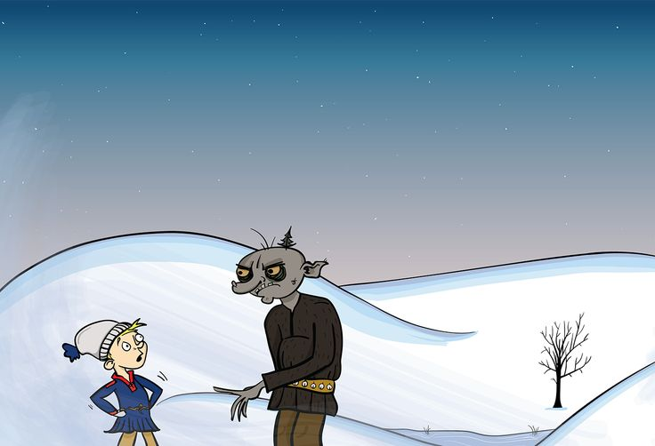 """Sámi book design """"Holvolas Gufihtar"""". This is the main character Jusse, a young sámi boy and """"stallu"""" (troll)."""