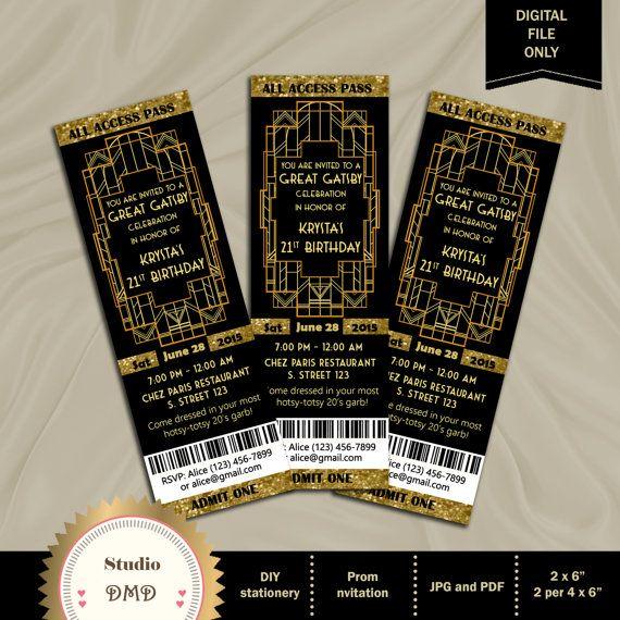 Great Gatsby Style Art Deco Party Invitation - Prom, Graduation, Birthday 21st 30th 40th 50th 60th 70th 80th 90th - Printable DIY