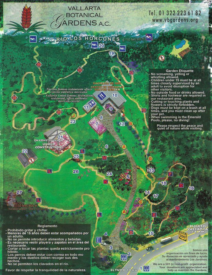 Botanical Gardens Map, Puerto Vallarta, Mexico