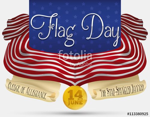 Commemorative Design with Scrolls and Banners for American Flag Day