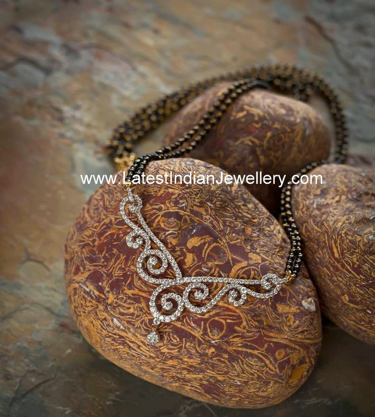 Diamond Pendant Nallapusalu | Latest Indian Jewellery Designs