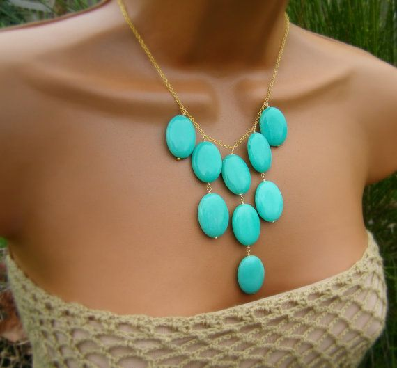 Mint Aqua Turquoise Jade Bib Necklace by CuppaCoffee