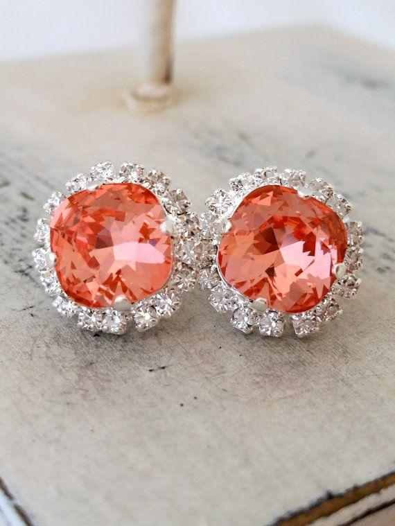 Peach pink coral crystal halo stud earrings by EldorTinaJewelry