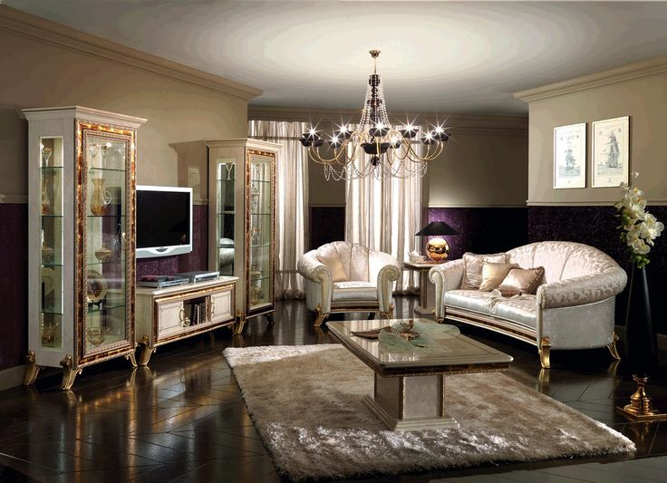 Luxury Living Room Interior Design With Classic Silver Sofa Set And Table  On White Rug Including Part 58