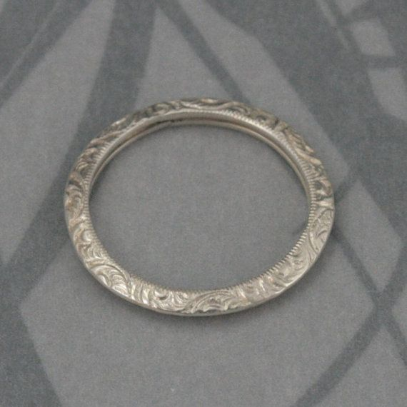 Silver Engraved Wedding Band--Fancy Engraved Sterling Silver Knife Edge Band--Sterling Silver Embossed Patterned Wedding Ring--Made to Size