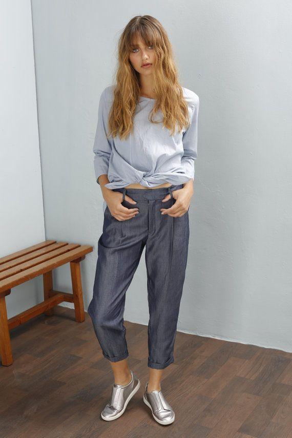 Women trousers - Medium Waisted - Dress Pants - Boyfriend pants - Stripes pants - Blue pants - cotton pants - Casual pants - Dalit pants