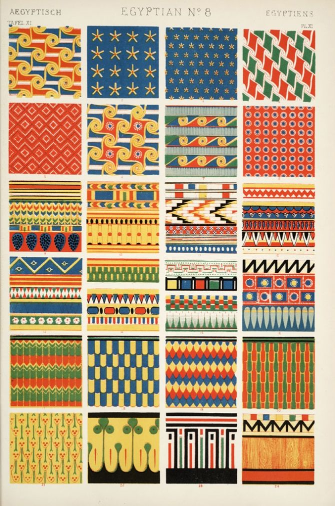 "a plate of Egyptian patterns from ""Grammar of Ornament"" by English architect, designer & author, Owen Jones (1809-1868). via but does it float"