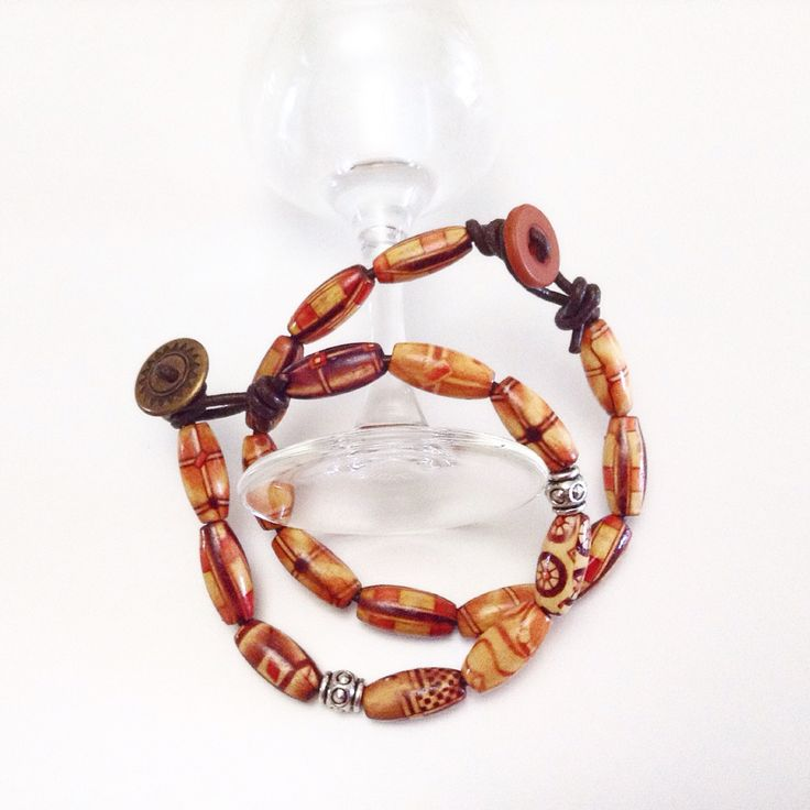 """Designer wood beads-brown leather-metal barrels-wrap bracelets-set. Save 10% with coupon """"Pinterest10"""" see details at www.thebeadedpathway.etsy.com"""