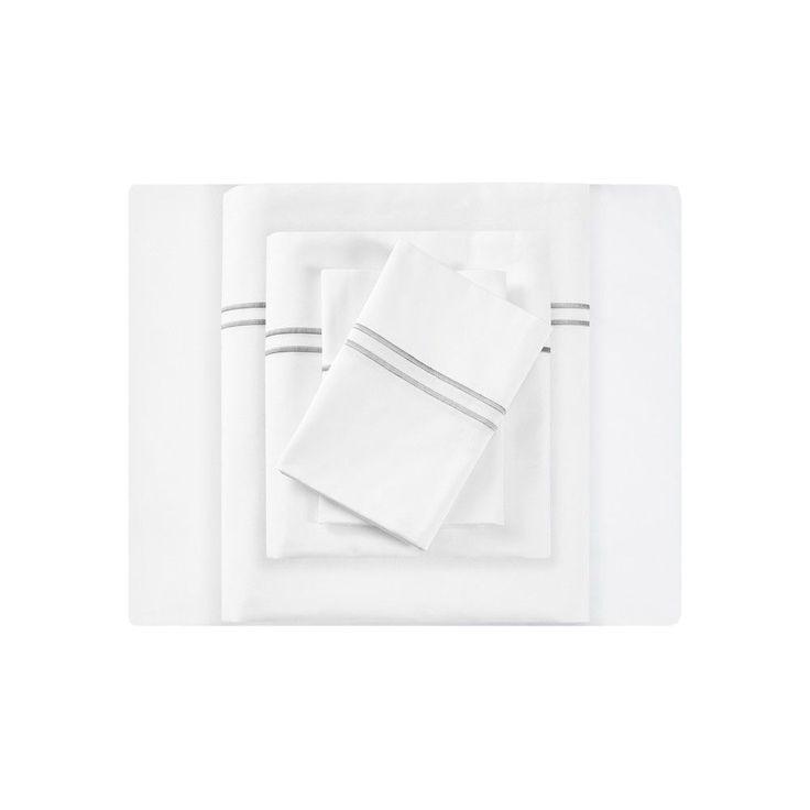 Embroidered Cotton Sateen Sheet Set King White & Gray 400 Thread Count - Sleep Philosophy, White/Gray