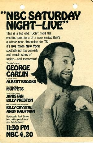 A poster advertisement for the very first episode of Saturday Night Live. 1975