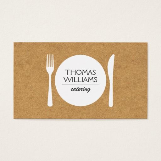 RUSTIC FORK, KNIFE, PLATE LOGO on BUTCHER PAPER Business Card