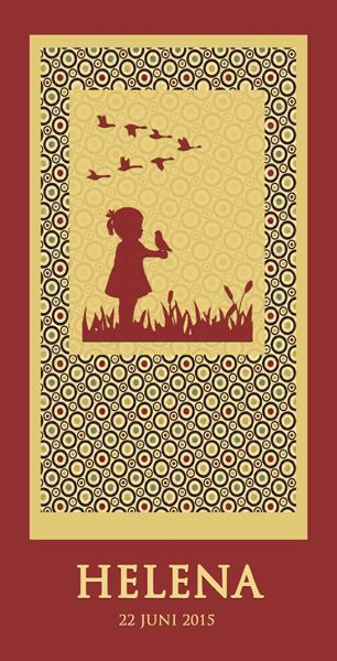 Geboortekaartje Helena - voorkant - Pimpelpluis - https://www.facebook.com/pages/Pimpelpluis/188675421305550?ref=hl (# meisje - vogel - vogeltje - lief- retro - origineel)