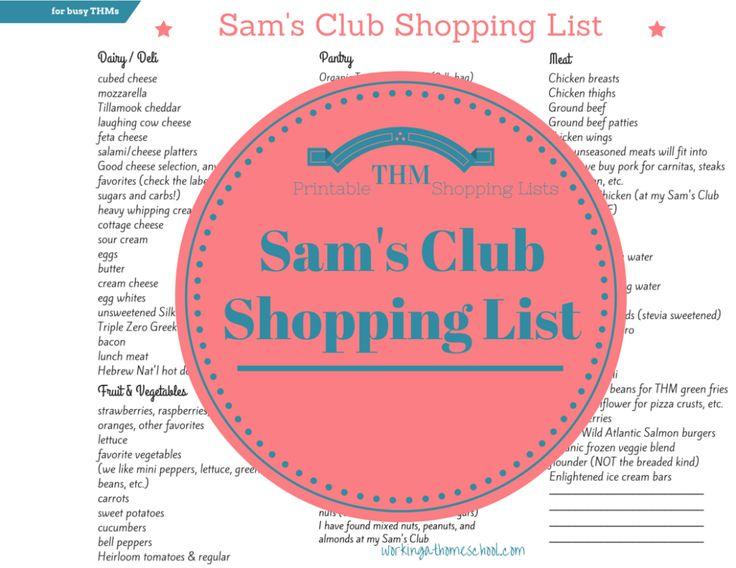 Sam's Club Shopping List