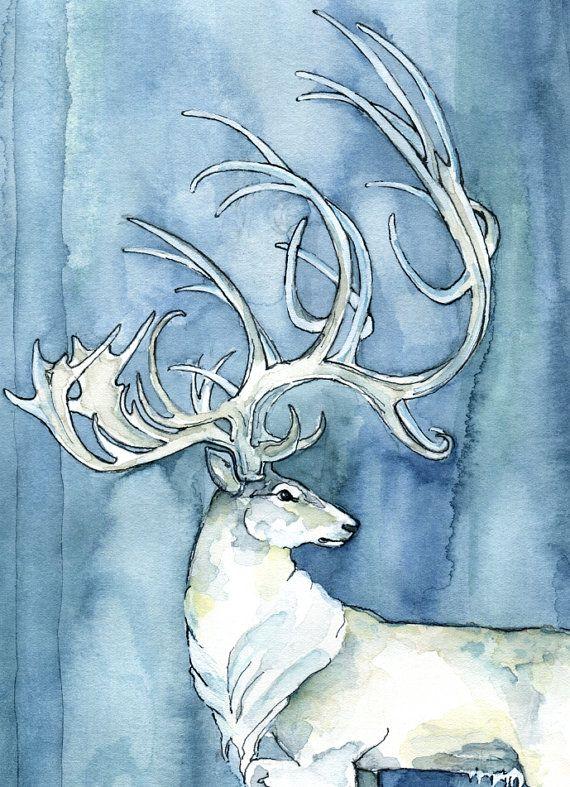 Pittura dell'acquerello di cervo bianco  stampa