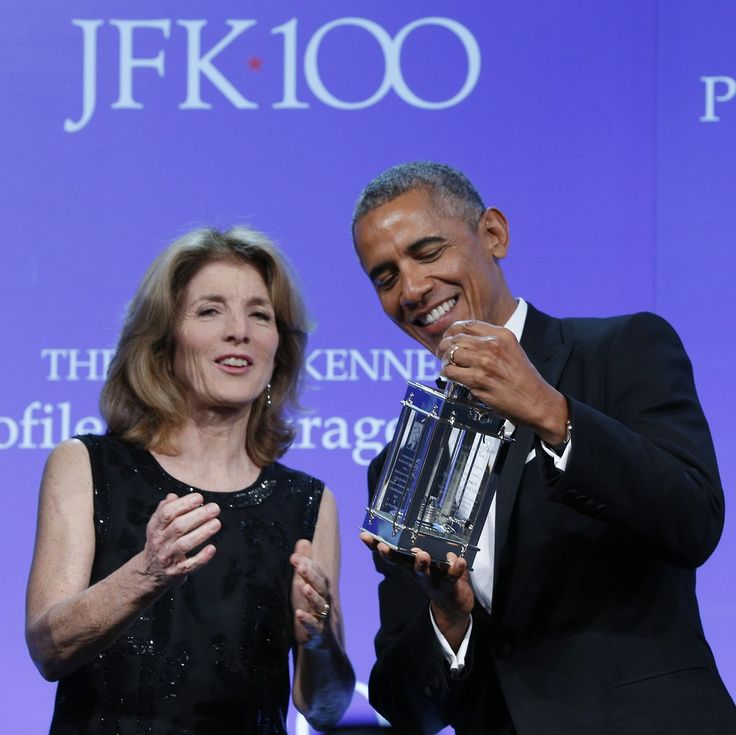 "President Barack Obama receives the 2017 John F. Kennedy Profile In Courage Award from Caroline Kennedy at the John F. Kennedy Library in Boston, Massachusetts. He was honored for ""his enduri…"