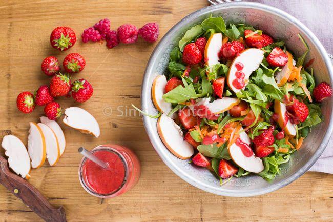Recept - aardbeiensalade met kip - met Zonnigfruit