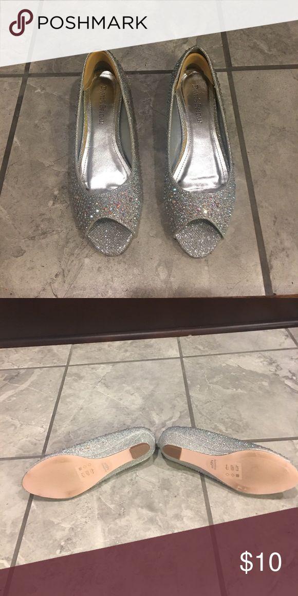 Silver bling shoes Davids Bridal Silver Bling Shoes worn once to wedding David's Bridal Shoes