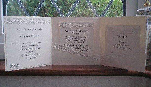 C0005 Pure Innocence Ivory Lace Pocketfold Wedding Invitation, Vintage Lace Wedding Cards