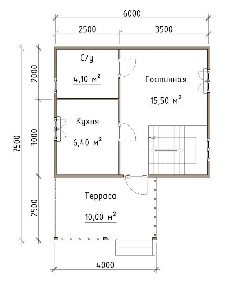 """Готовый проект каркасного дома 6X7,5 от Строительной компании """"ДОМ МЕЧТЫ""""."""