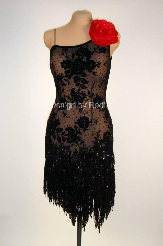 Argentine Tango Dress with Velvet Lace & Sequin Fringe (Front)