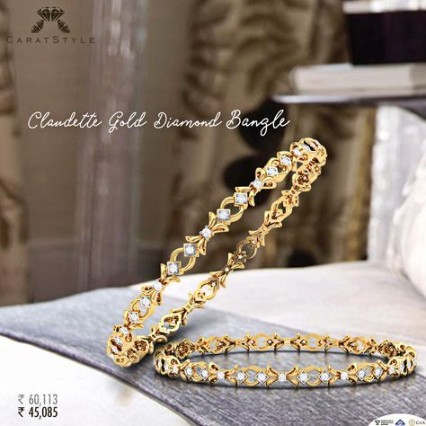 Sweet and Spontaneous Love with these #Diamonds. #bangles ♥ #goldbangle…