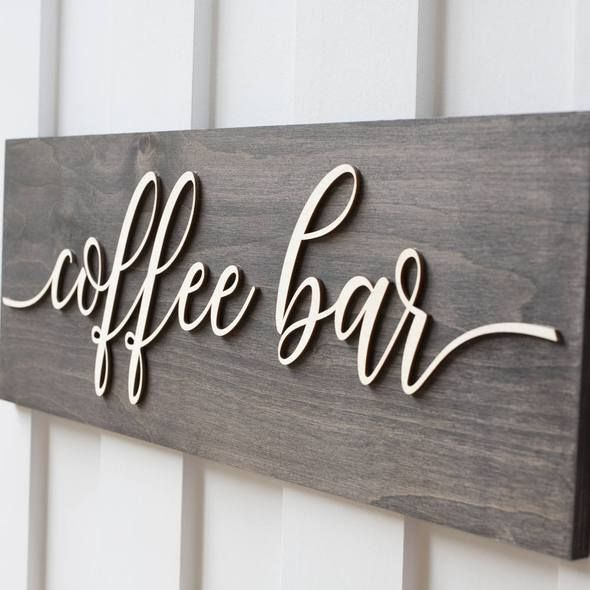 coffee kitchen decor wooden wall art sign latte cafe bistro wood plaques 7x7