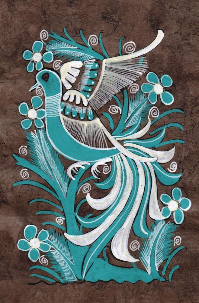 Turquoise Bird Amate Painting $10 (SOLD)