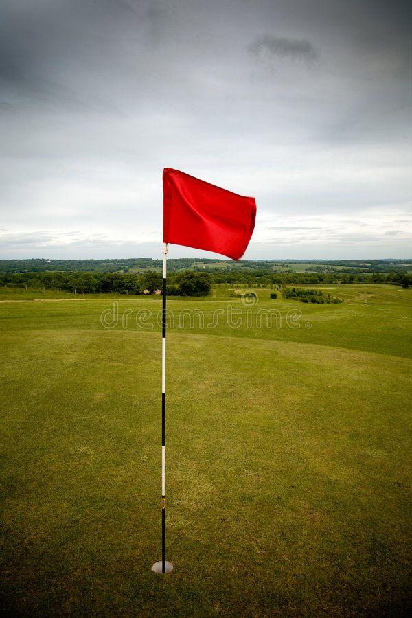 Golf Hole Red Flag Marks Golf Hole On Green Ad Red Hole Golf Flag Green Ad Golf Flag Green Clouds