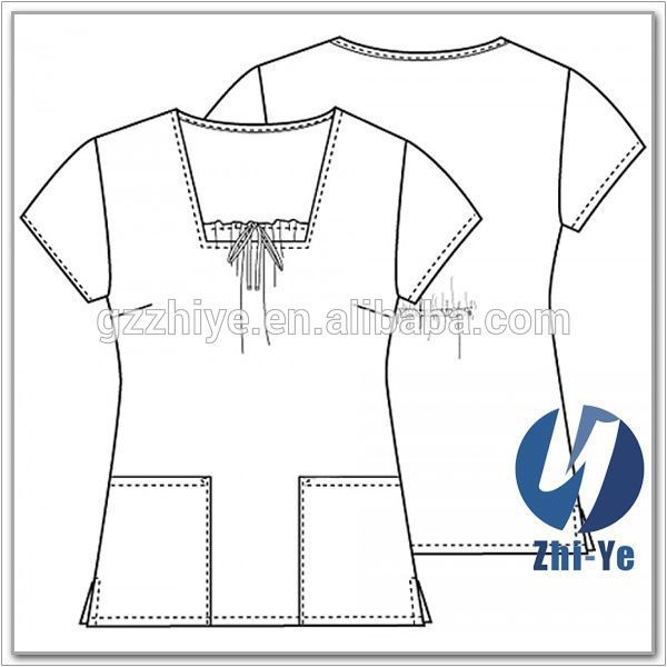 Hospital scrub tops marca de moda patrón matorrales uniforme