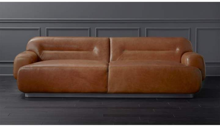 Logan Brown Leather Sofa Steel Stainless Base Leather Sofa