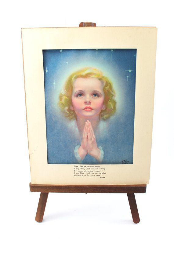 "Vintage print of girl praying by Roy Best - ""Now I Lay Me Down to Sleep"" prayer on mat - 8x10 vintage religious picture, ready to frame!"