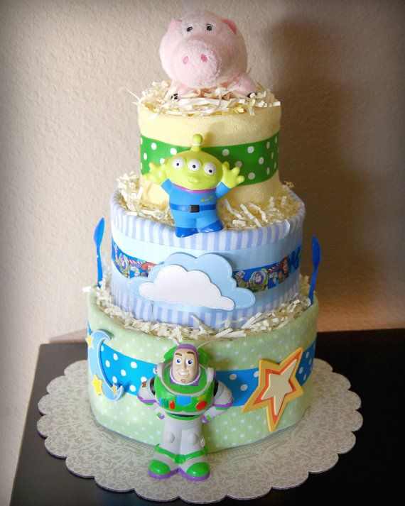 Disney Toy Story Baby Boy Blue 3 Tier Diaper, Baby Shower Gift