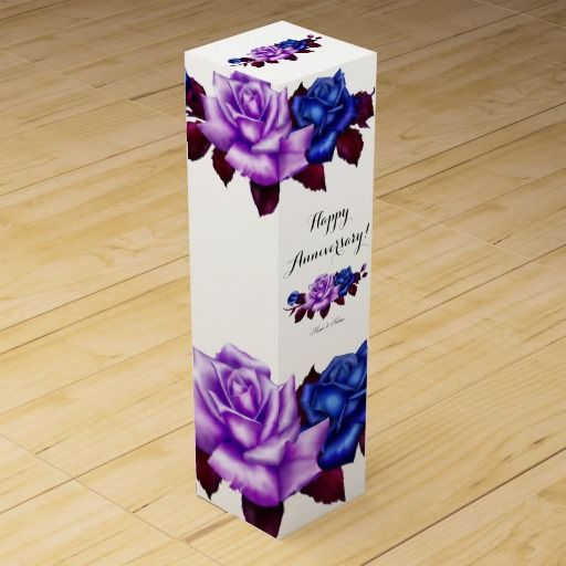 Royal Blue Lilac Roses Happy Anniversary Wedding Wine Boxes